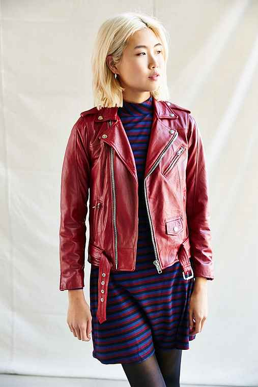 PeleCheCoco Leather Biker Jacket,RED,M