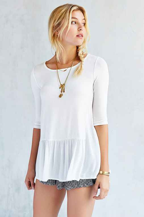 Silence + Noise Lisa Drop-Waist Tunic Top,IVORY,M