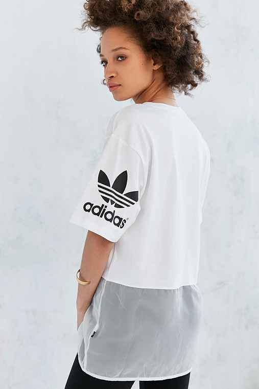 adidas Originals Basketball Mesh Tunic Tee,WHITE,L
