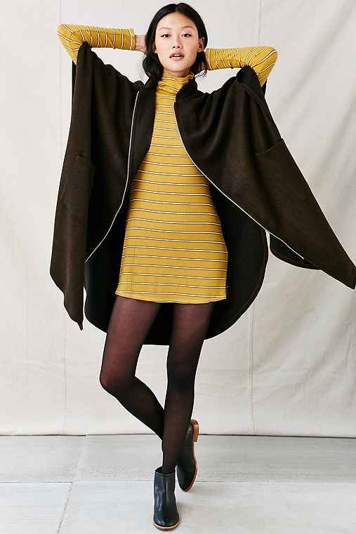 Urban Renewal Remade Zip-Up Maxi Cape,BROWN,ONE SIZE
