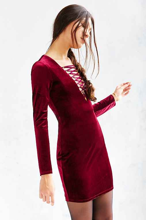 Ecote Velvet Lace-Up Bodycon Dress,MAROON,XS