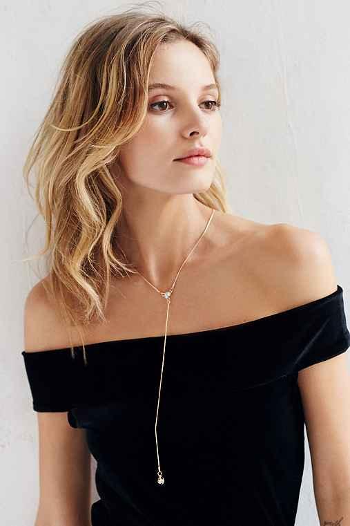 Liza Stone Lariat Necklace,GOLD,ONE SIZE