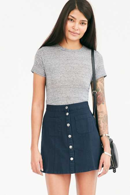 BDG Twill Button-Front A-Line Skirt