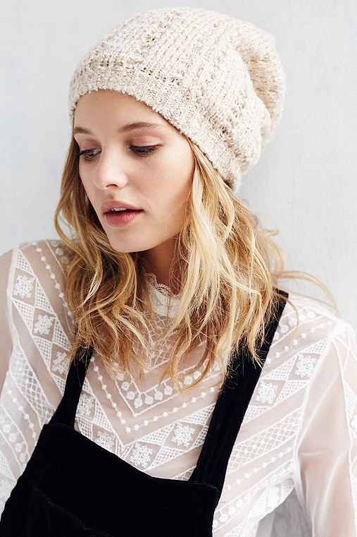 Open Boucle Slouch Beanie,IVORY,ONE SIZE