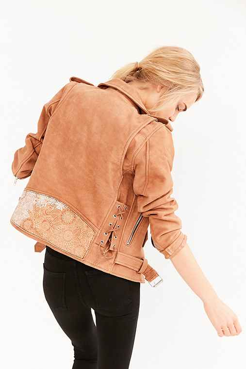 US By Understated Leather for UO Lace-Up Floral Panel Jacket,LIGHT BROWN,S