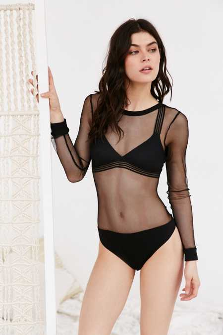 Out From Under Mesh Layering Long Sleeve Bodysuit