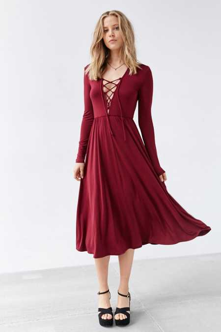 Ecote Lace-Up Midi Dress