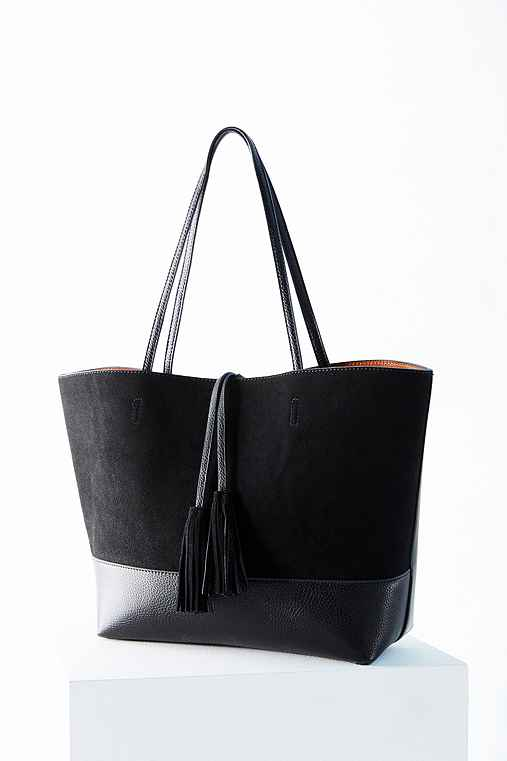 BDG Suede + Vegan Leather Tassel Tote Bag,BLACK,ONE SIZE