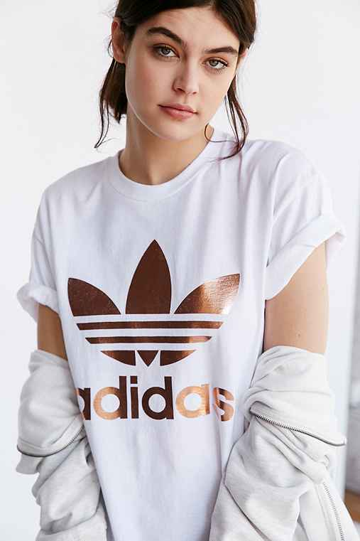 Adidas originals rose gold double logo tee urban outfitters for Adidas floral shirt urban outfitters