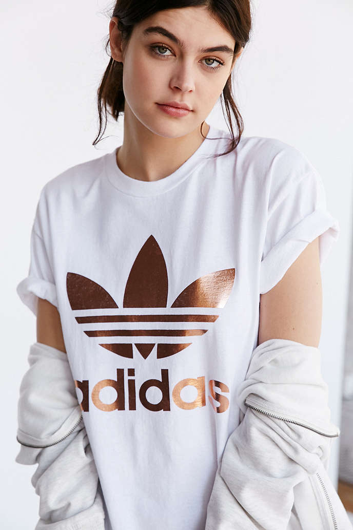 6e0b3979f06 ADIDAS ROSE GOLD DOUBLE LOGO TEE - URBAN OUTFITTERS on The Hunt