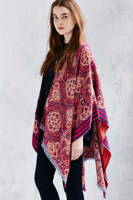 Tapestry Mix Stripe Poncho