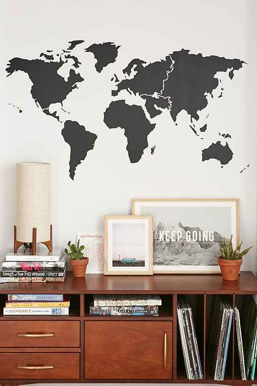 Walls Need Love World Map Wall Decal,BLACK,ONE SIZE