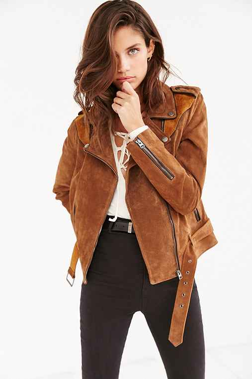 Ecote Genuine Suede Spliced Western Jacket,LIGHT BROWN,XS