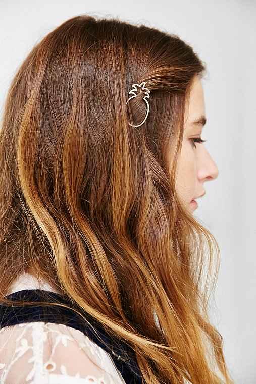 Pina Colada Hair Clip,GOLD,ONE SIZE