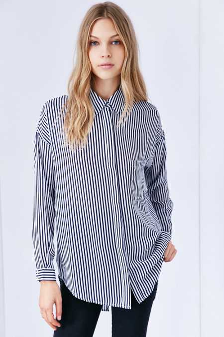 Silence + Noise Silky Oversize Button-Down Blouse