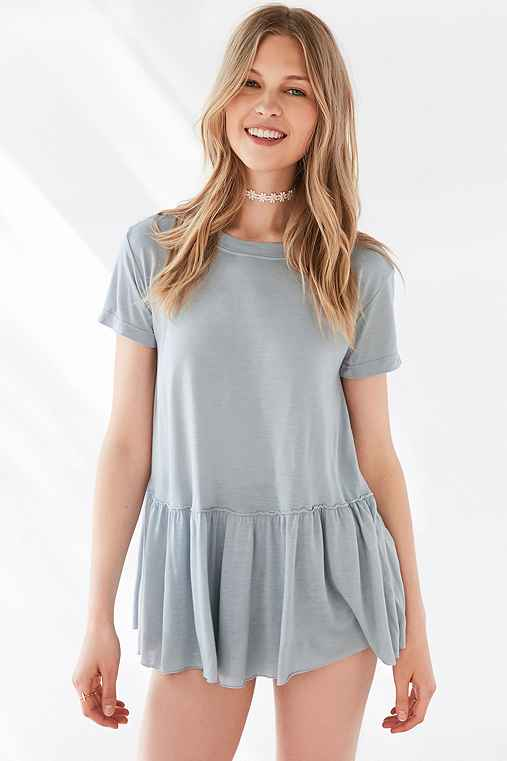 Truly Madly Deeply Dusty Road Peplum Tee,SKY,L