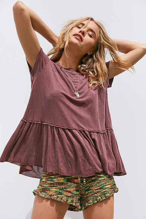 Truly Madly Deeply Dusty Road Peplum Tee,PURPLE,XS