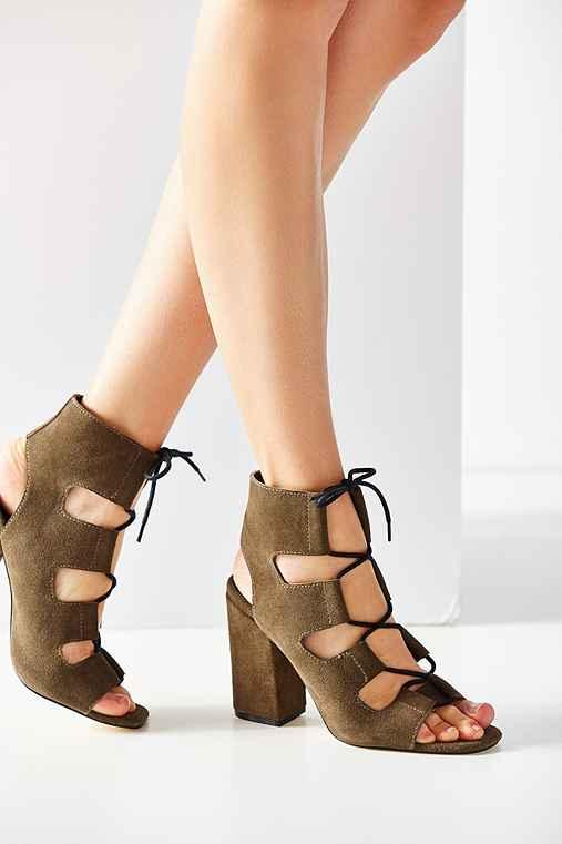 Lace-Up Heel,KHAKI,8