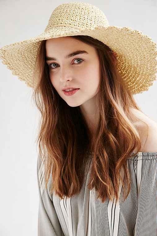 Scalloped Femme Straw Floppy Hat,TAN,ONE SIZE