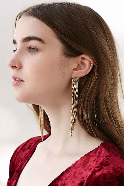 Sylvia Chain Front/Back Earring,GOLD,ONE SIZE