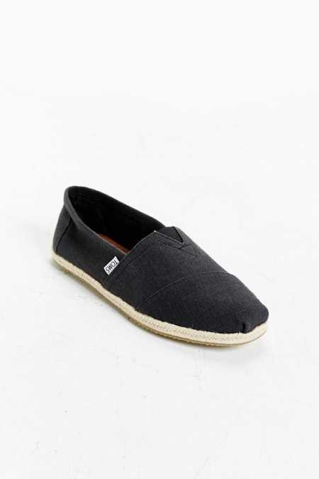 TOMS Washed Black Linen Rope Slip-On Shoe