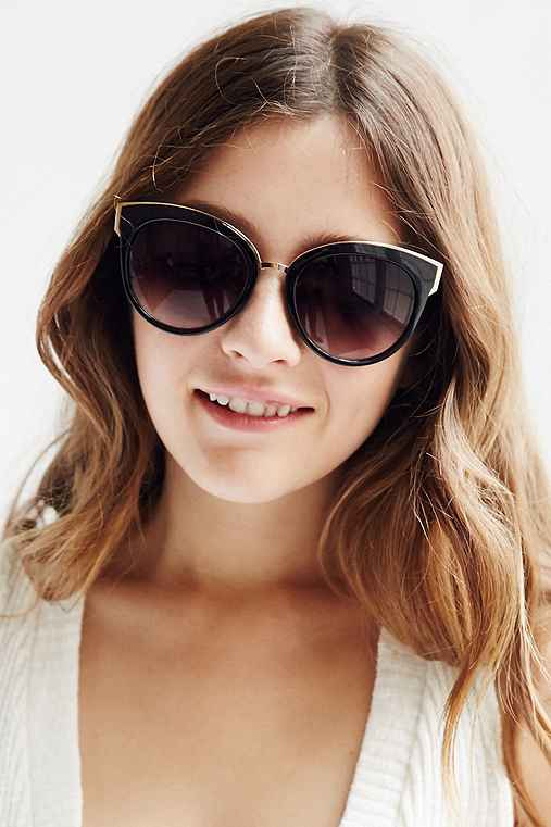 VIP Cat-Eye Sunglasses,BLACK,ONE SIZE