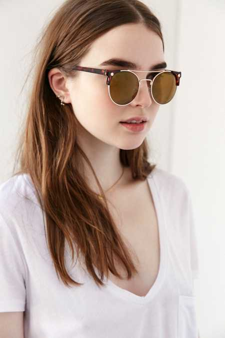 Collins Brow Bar Round Sunglasses
