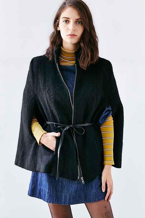 BB Dakota Zoey Cape Coat,BLACK,S