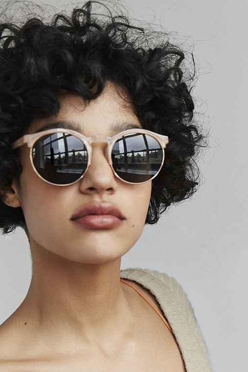Keyhole Round Half-Frame Sunglasses,TAUPE,ONE SIZE