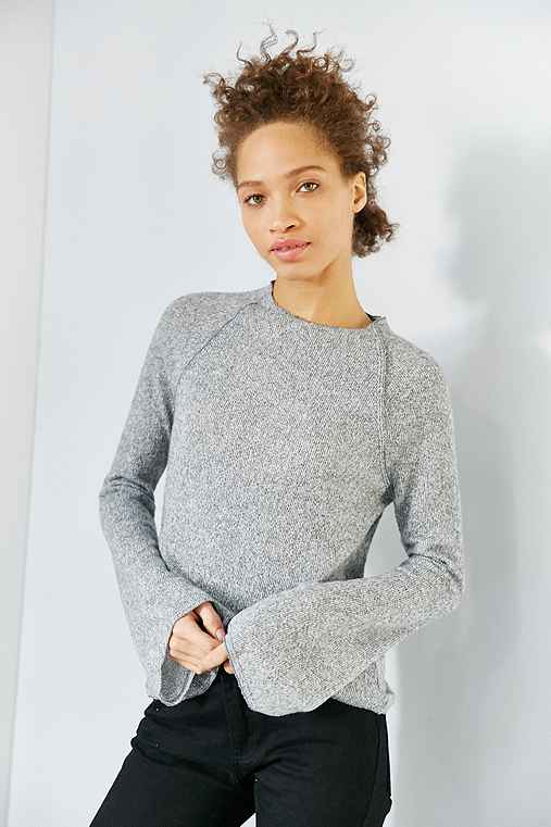 BDG Ashley Bell Sleeve Sweater,GREY,M
