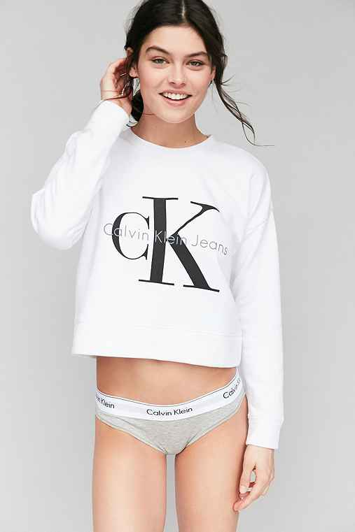 Calvin Klein For UO Cropped Pullover Sweatshirt,WHITE,M