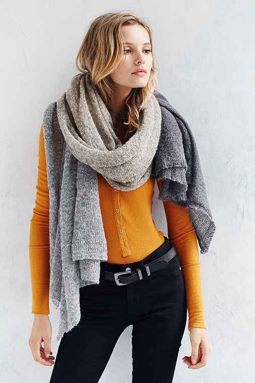 Colorblock Airy Knit Blanket Scarf,GREY MULTI,ONE SIZE