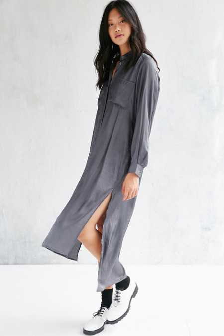 Native Youth Satin Button-Down Dress