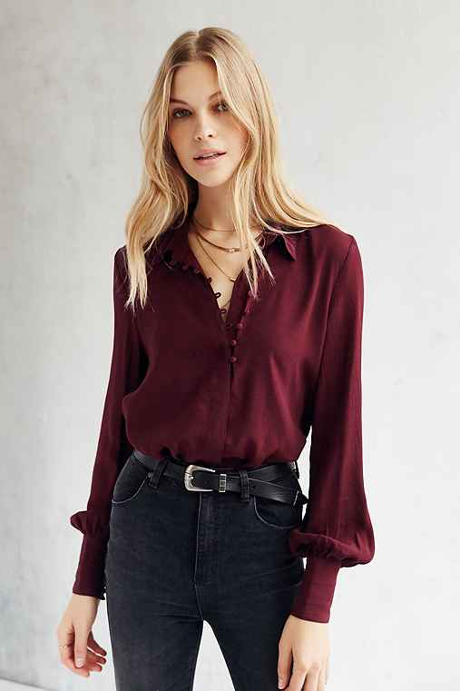 Kimchi Blue Marcia Button-Down Shirt,DARK PURPLE,S