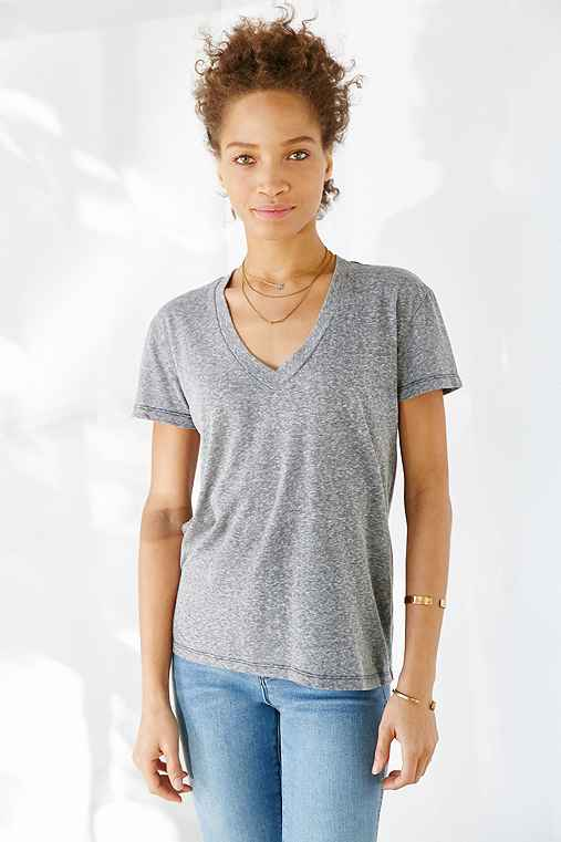 Truly Madly Deeply Sal Boyfriend V-Neck Tee,GREY,XS