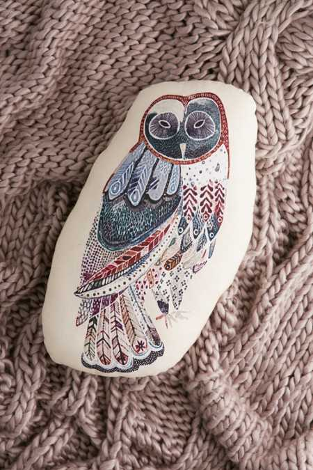 Plum & Bow Watercolor Owl Pillow