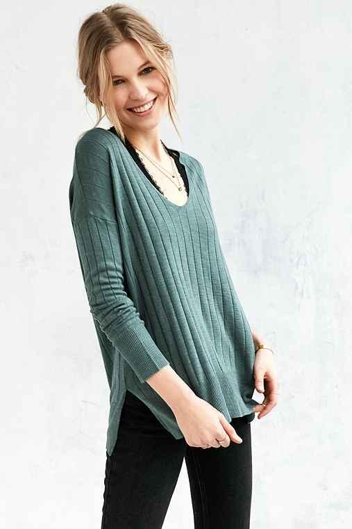 Kimchi Blue Ribbed Knit Deep-V Tunic Sweater,GREEN,S
