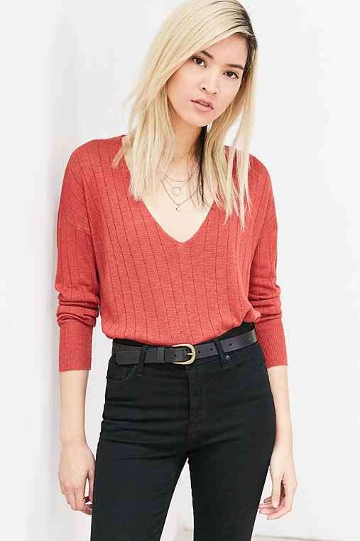 Kimchi Blue Ribbed Knit Deep-V Tunic Sweater,RED,M