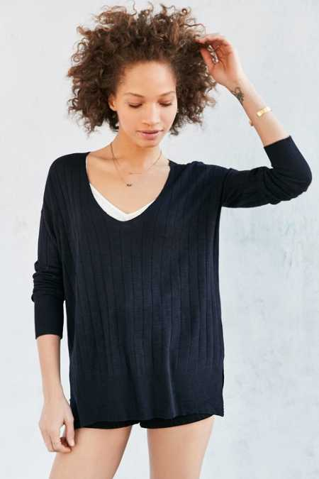 Kimchi Blue Ribbed Knit Deep V Tunic Sweater
