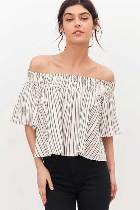 Kimchi Blue Smocked Stripe Off-The-Shoulder Top