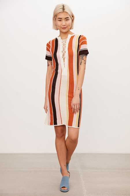 Ecote Multi-Stripe Lace-Up Sweater Dress