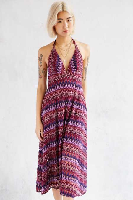 Ecote Plunging Flame Stitch Midi Dress