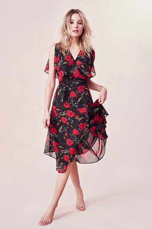 Kimchi Blue Floral Ruffle Wrap Midi Dress,BLACK MULTI,L