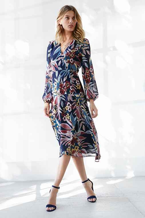 Bardot Botanic Print Wrap Dress,BLUE MULTI,M