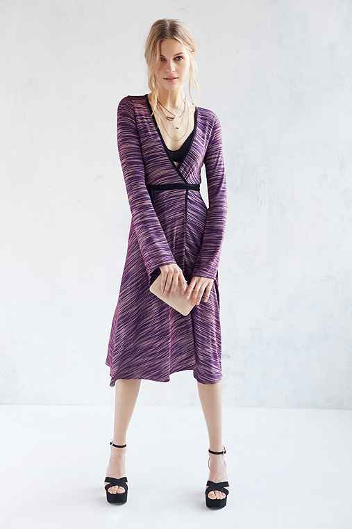 Silence + Noise Ryker Wrap Midi Dress,PURPLE MULTI,XS