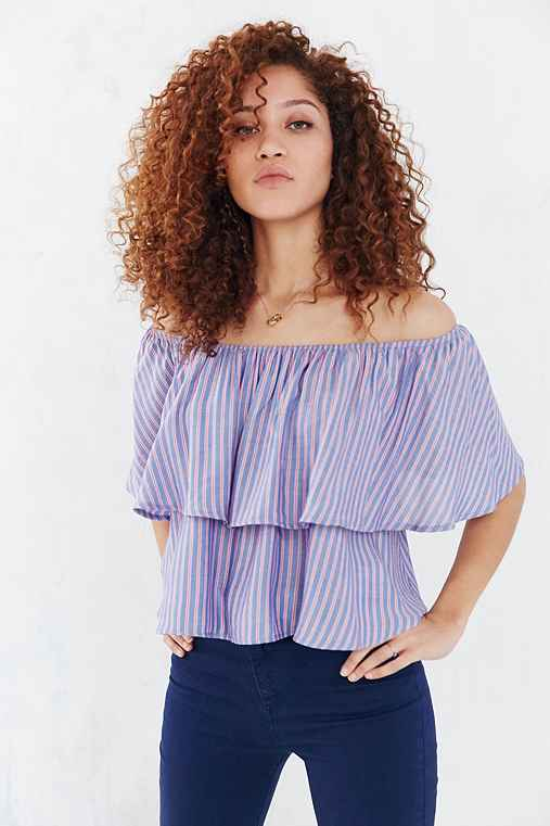 Kimchi Blue Striped Ruffle Off-The-Shoulder Blouse,BLUE,M