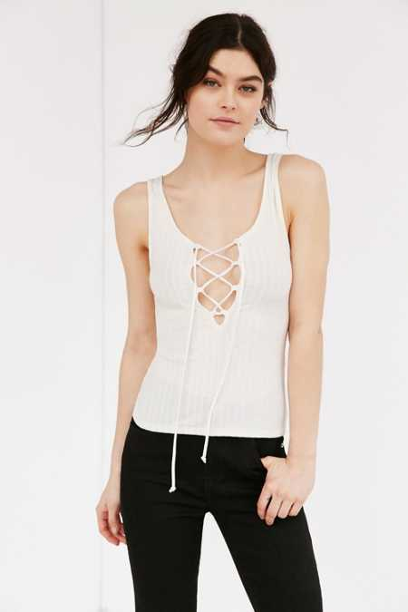 Project Social T Lace-Up Ribbed Tank Top
