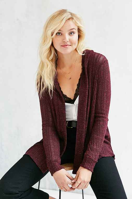 BDG Milo Open Cardigan,RED MULTI,XS
