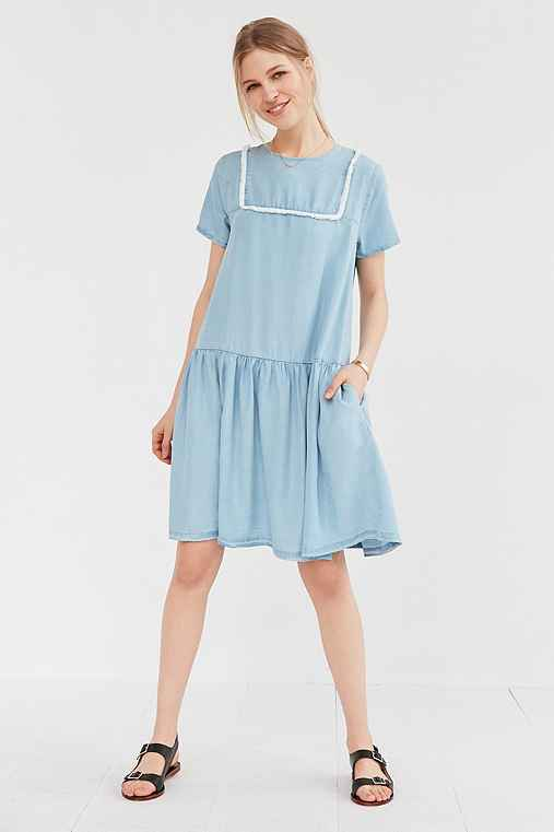 Little White Lies Suki Chambray Shift Dress,SKY,XS