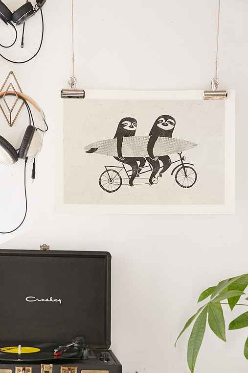 Surfing Sloth Tandem Sloth Art Print,NO FRAME,18X24